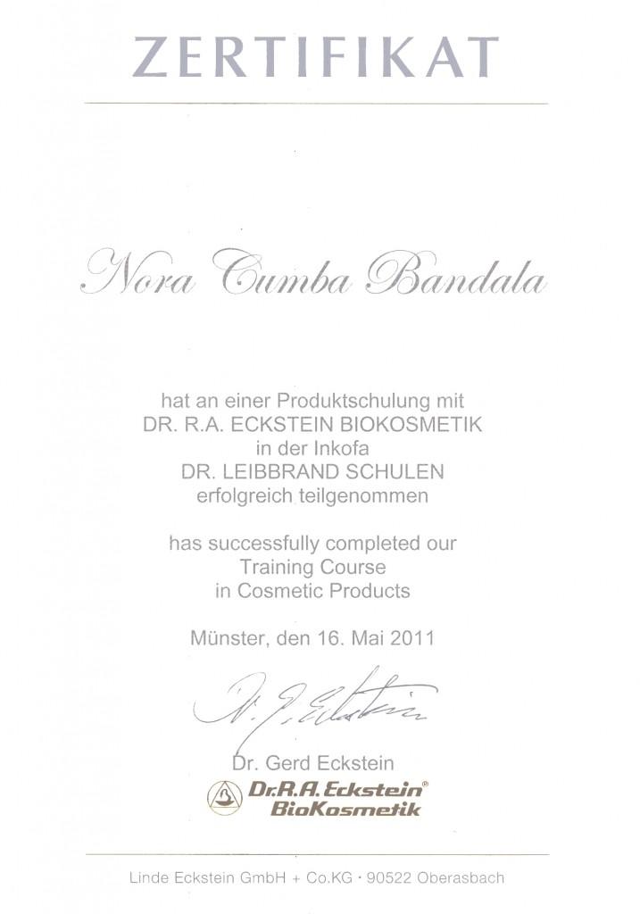 130305_Zertifikat_Produktschulung_Dr. R.A. Eckstein Biokosmetik